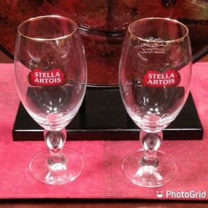 Pair Of Stella Artois Gold Rim Pint Glasses